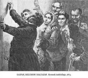 Gaspar, Melchior i Baltazar Rysunek Andriollego 1873 średni
